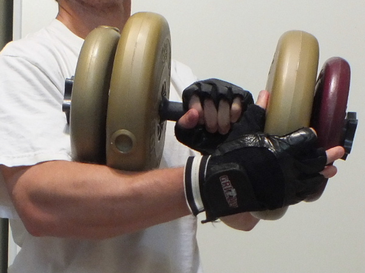 Doing a dumbbell workout.