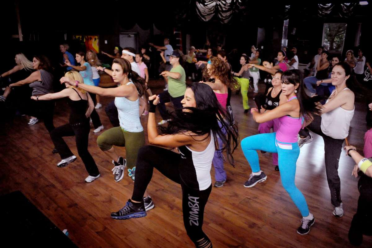 It's up to you what clothes to wear to Zumba class, everyone wears something different.