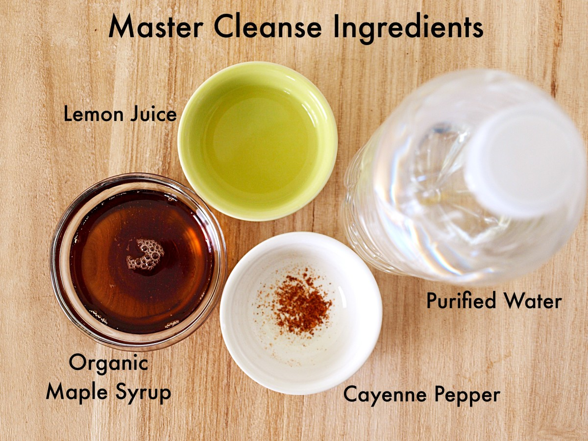 The recipe for Master Cleanse Lemonade requires four ingredients: a high-quality maple syrup, lemons, cayenne pepper, and purified water.