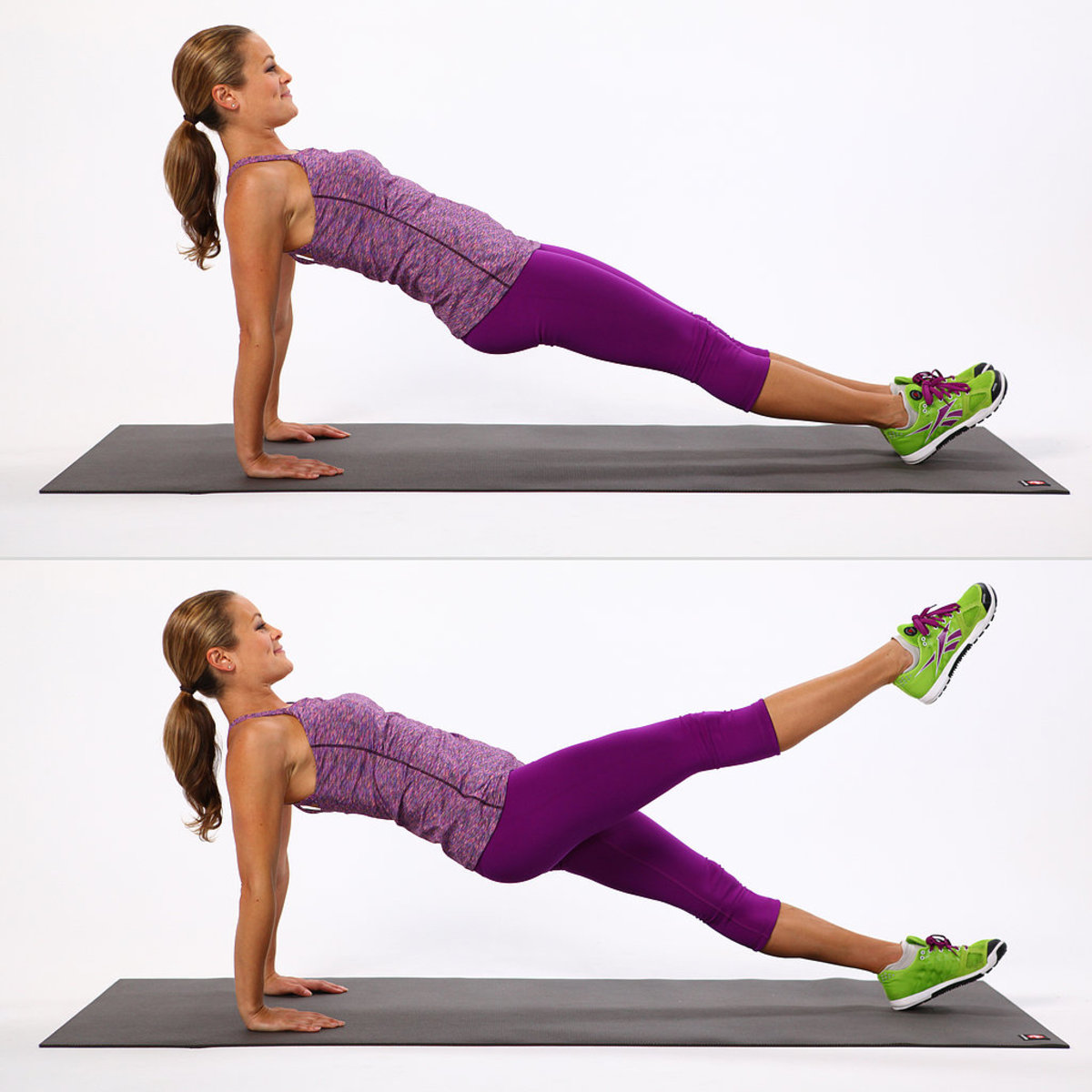 Reverse Plank with Leg Lift Demonstrated by Pretty Girl in Purple Fitness Gear and Green Athletic Sneakers