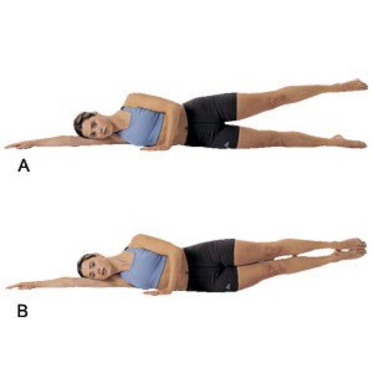 Side lying double leg lifts