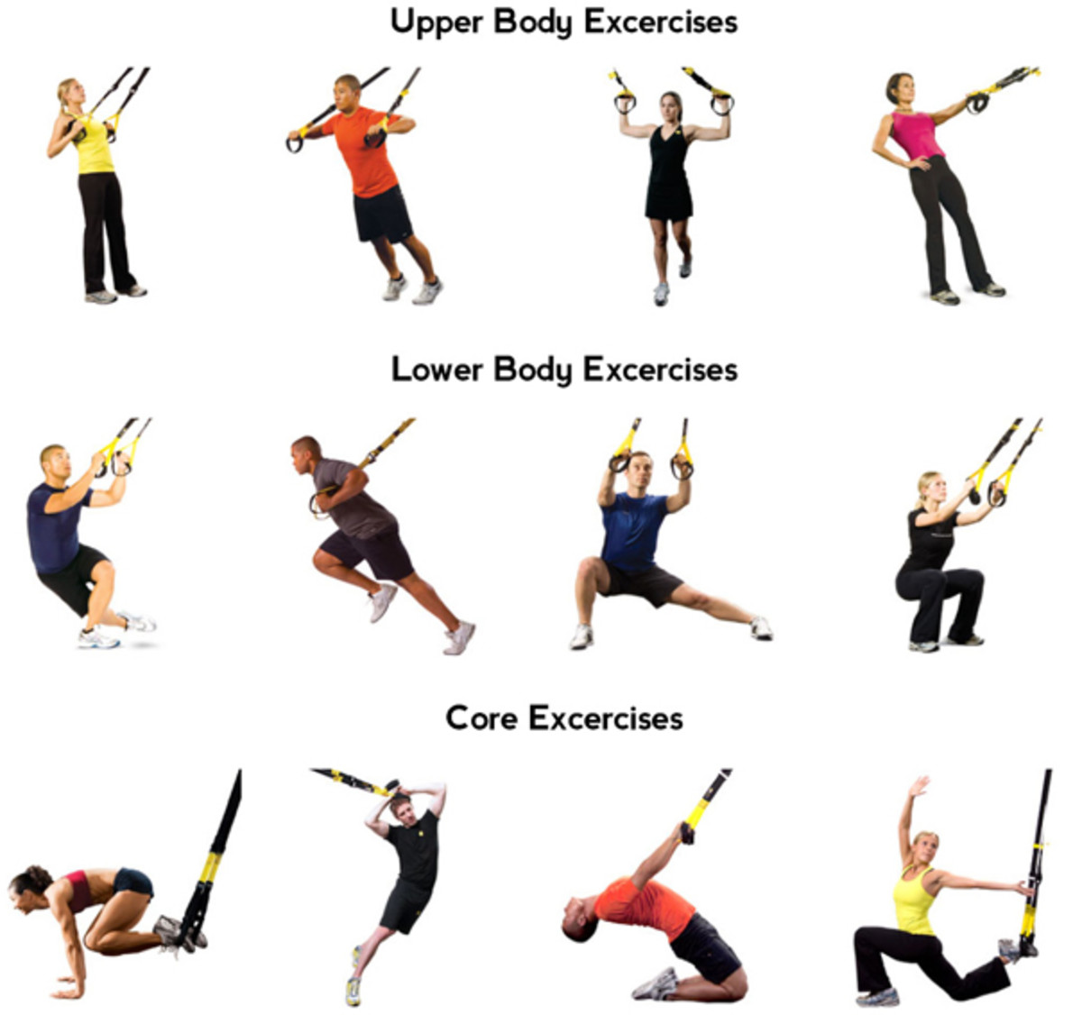 This poster shows 12 different exercises.