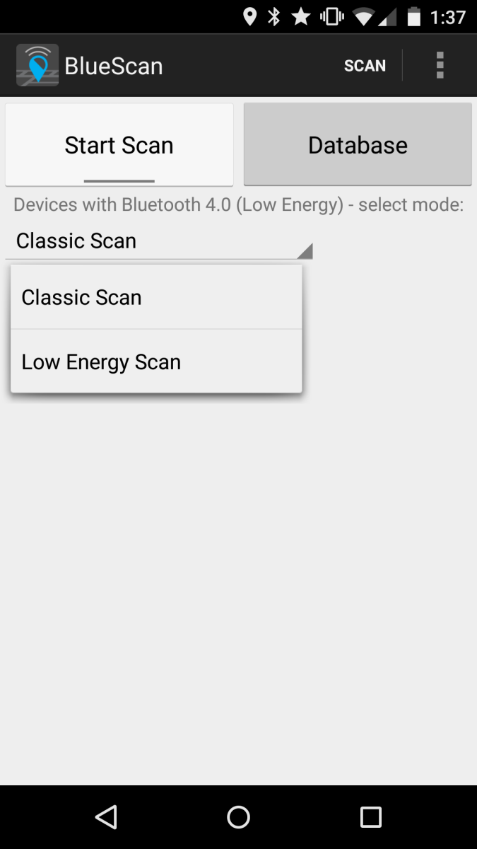Screenshot demonstrating how to use the Bluetooth Scanner App.