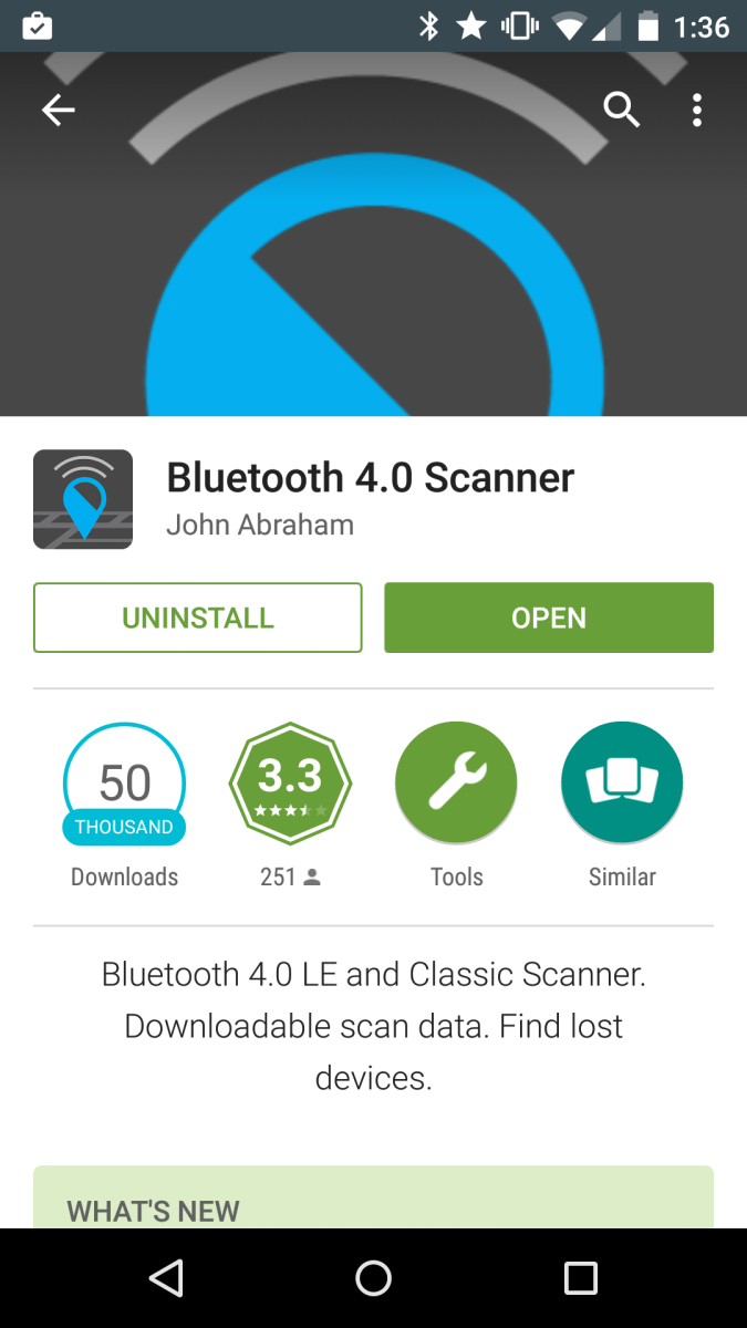 Screenshot of the Bluetooth Scanner App.