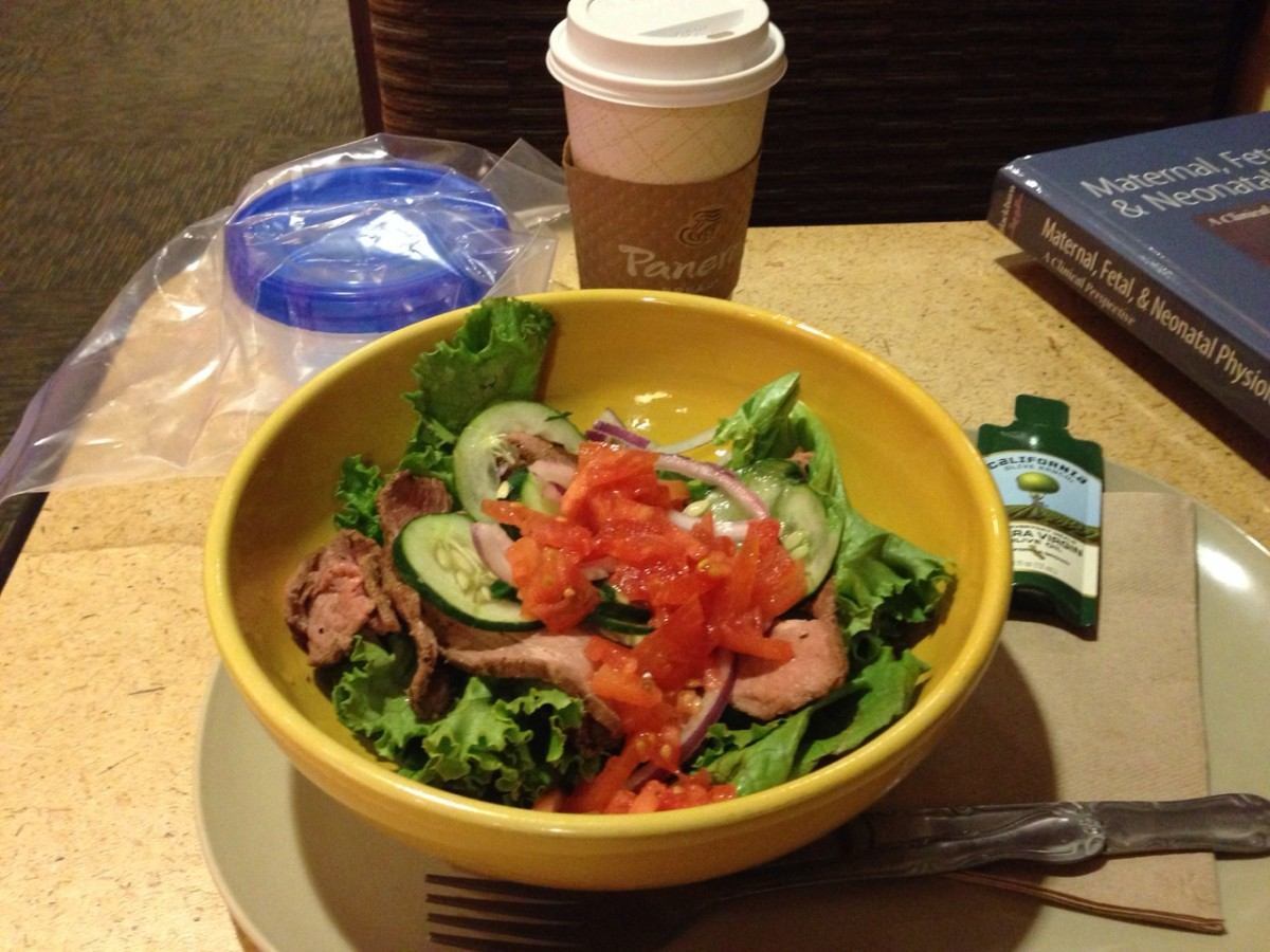 Get the Steak Power Bowl off the Hidden Menu with NO pesto.  Ask for an Olive Oil packet on the side.  Have a coffee with some cinnamon (I bring my own coconut milk!)