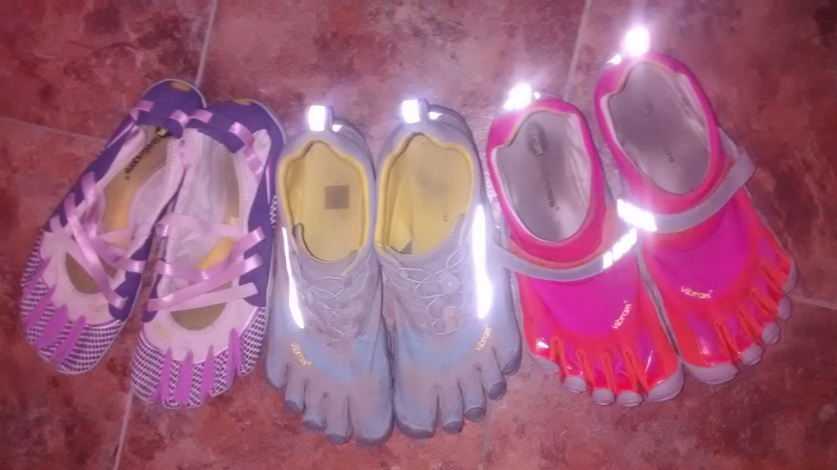 As you can see, my two pair of shoes has now multiplied to three pair. I love how the Bikila shoes have reflectors on them so it's easier to be seen at night.