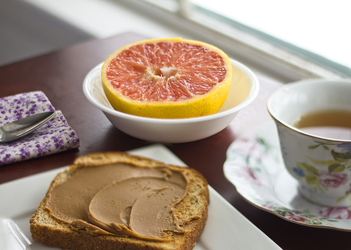 Breakfast: 1/2 a grapefruit, toast with peanut butter, and black coffee (I added skim milk to mine).