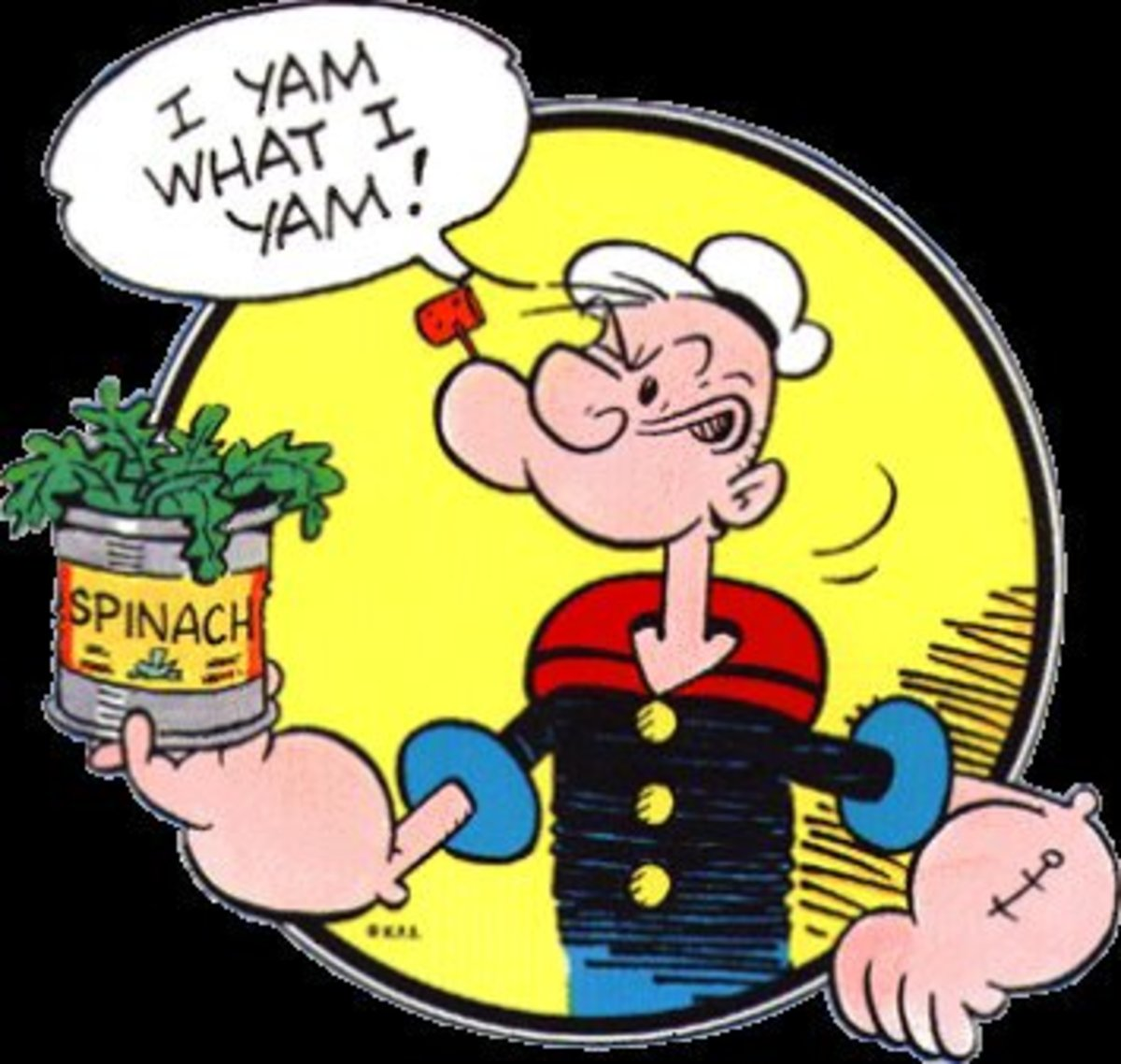 The cartoon Popeye The Sailor Man was notorious for making the connection between eating iron-rich spinach and good health (strong muscles for Popeye).