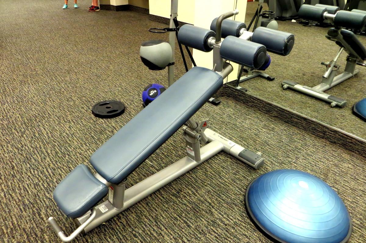 An abdominal exercise bench.