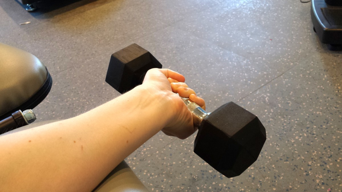 To strengthen the inside of the forearm, curl upward, palm up.