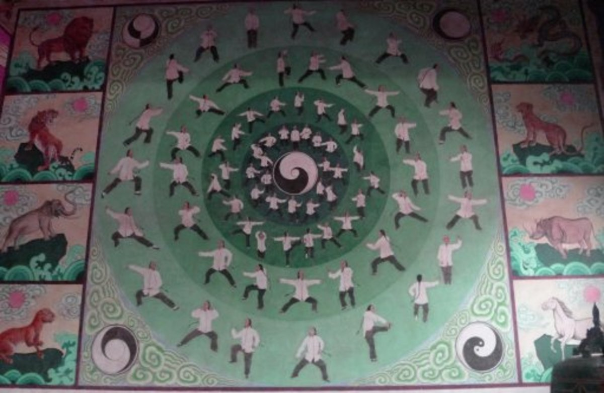 A painting on a wall in Chenjiagou depicts forms from tai chi chuan.