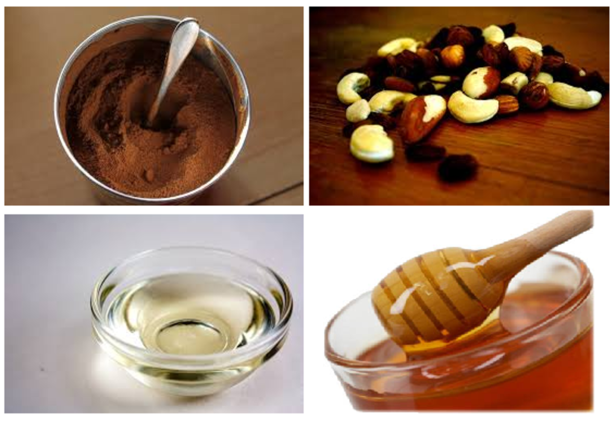 Chocolate Main Ingredients - Dark Cocoa, Nuts, Virgin Coconut Oil, and Honey