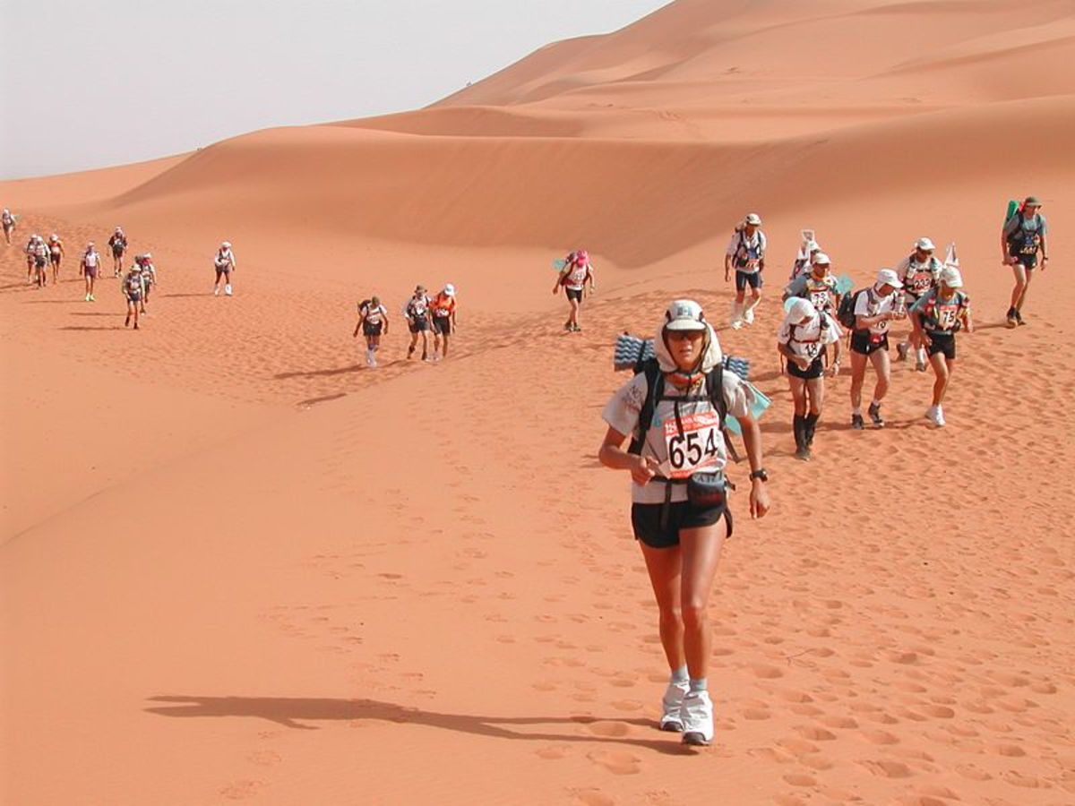 The Marathon Des Sables covers the equivalent of six marathons in five days through the Sahara Desert. The longest stage is 57 miles.