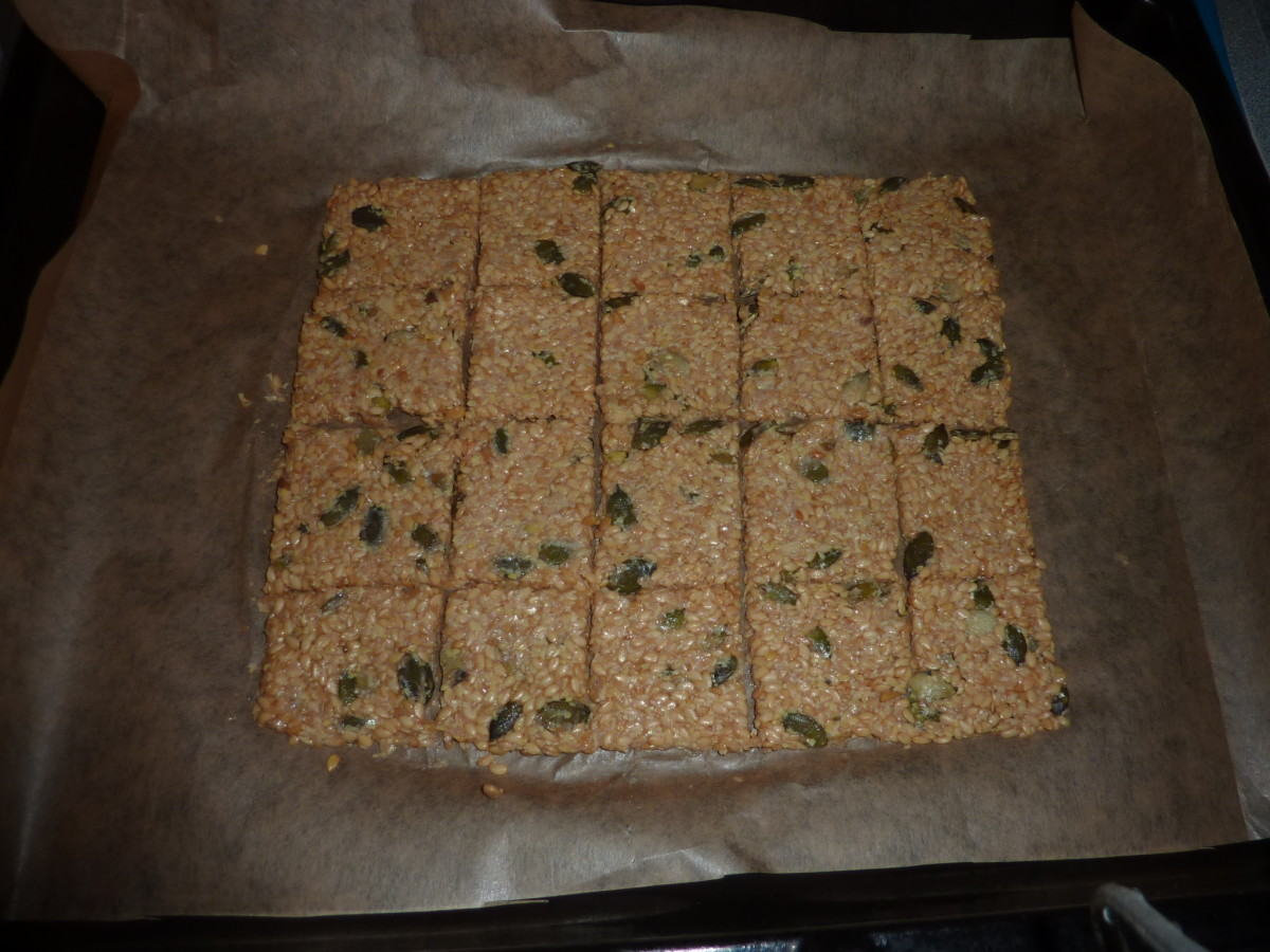 Raw crackers, scored and reshaped a little.