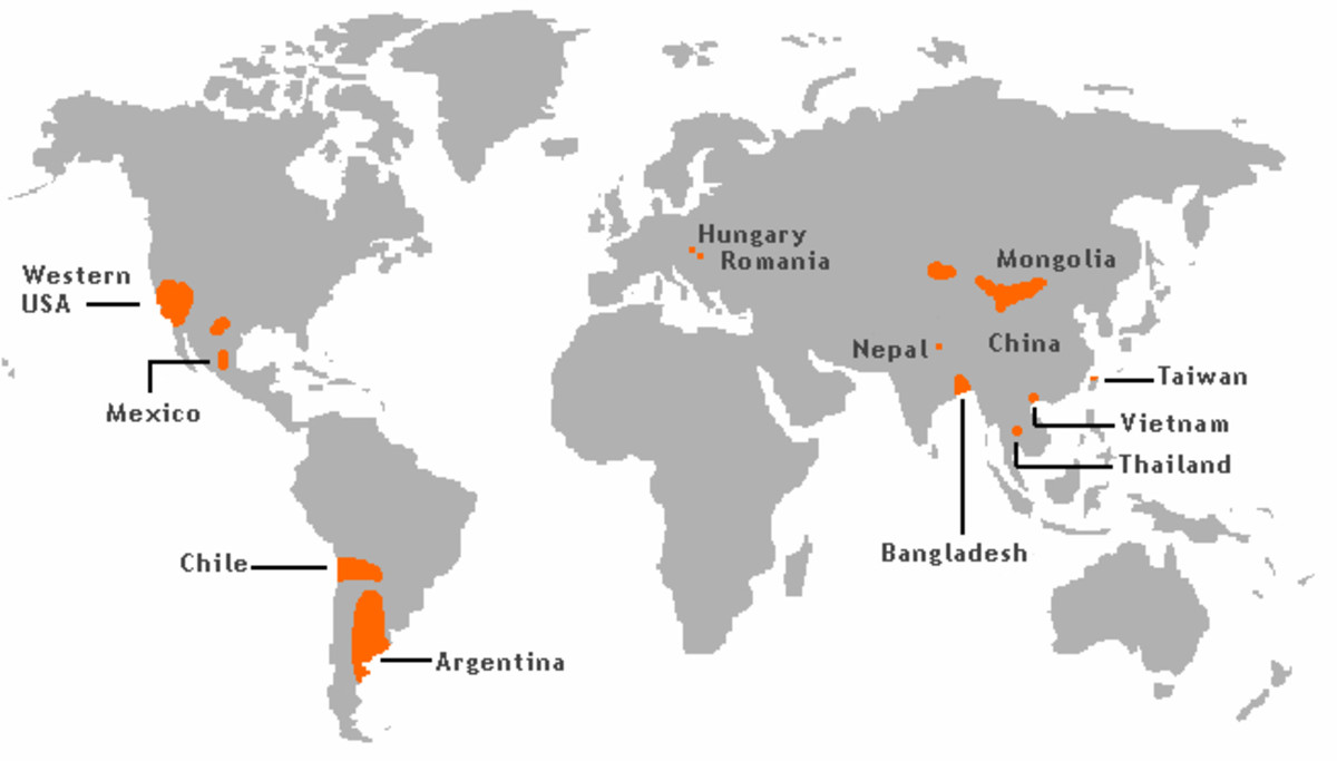 A map of areas where high natural occurring arsenic levels are found in the groundwater. Rice grown in water contaminated with arsenic will absorb it.