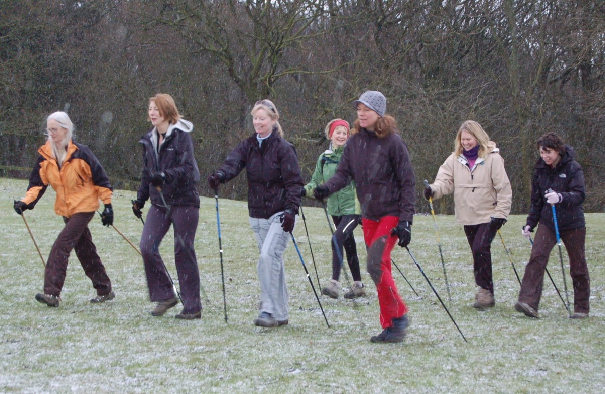 Nordic Walkers near Ilkley, northern England