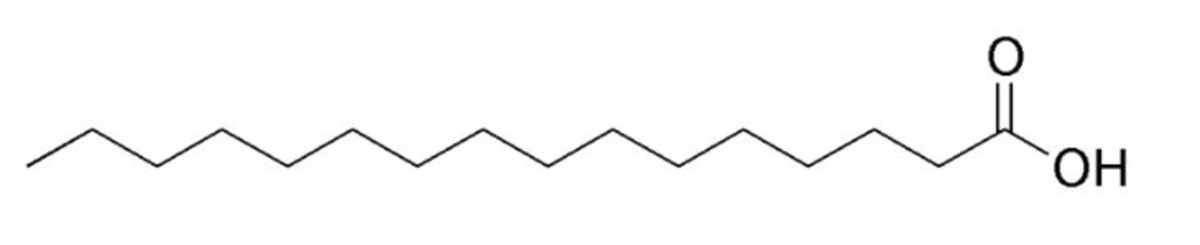 """Figure 2: Structure of a Fatty Acid """"Palmitic acid structure"""" by Edgar181 is in the  public domain."""