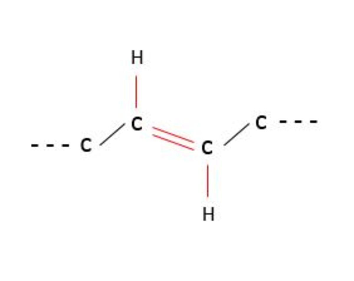 Figure 9: Structure of a trans double bond. Original diagram.