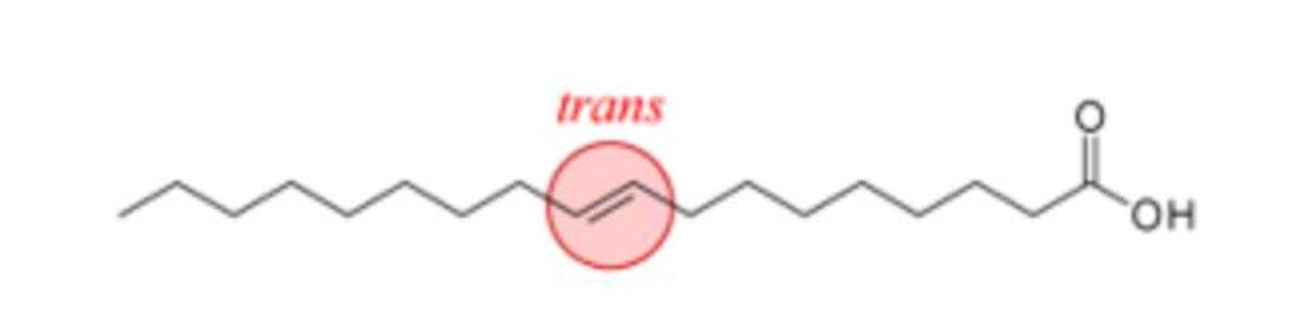 """Figure 10: Structure of a fatty acid containing a trans double bond. Modified from """"Cis trans"""" by Foobar, which is licensed under CC 3.0."""