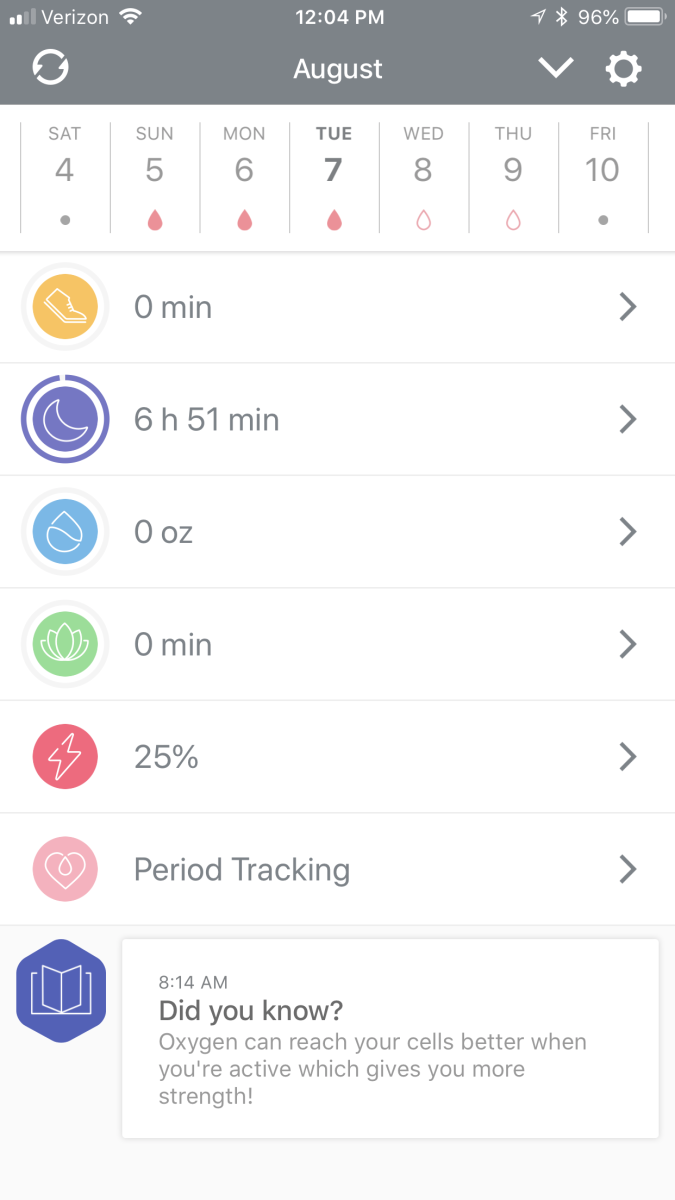 A screenshot of the BellaBeat Health app.