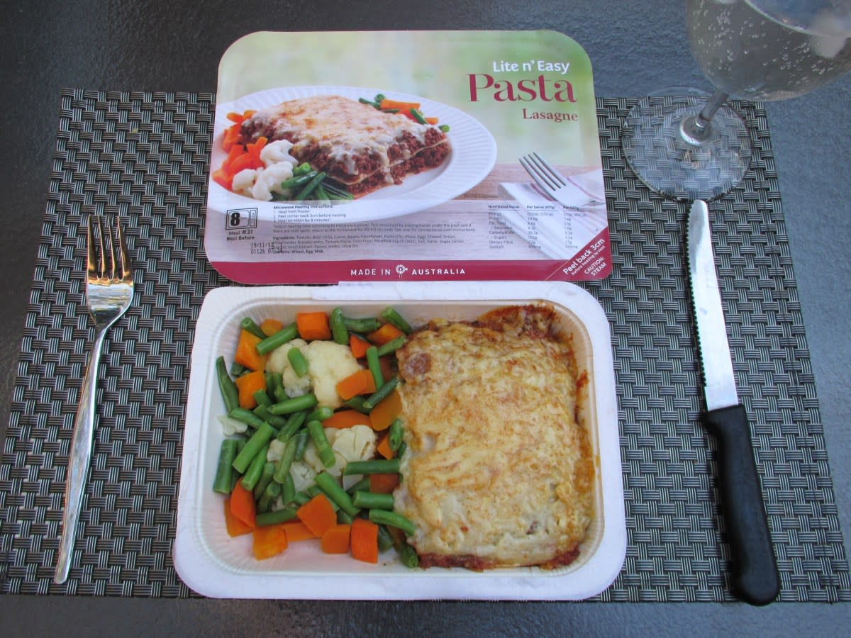 Lite 'n Easy's lasagne.  Not quite the real thing, but it's a decent replacement, I suppose.