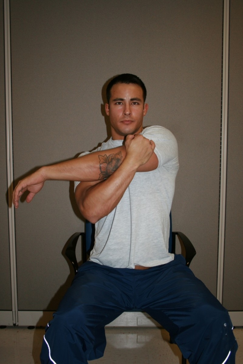 Pull straight arm across chest