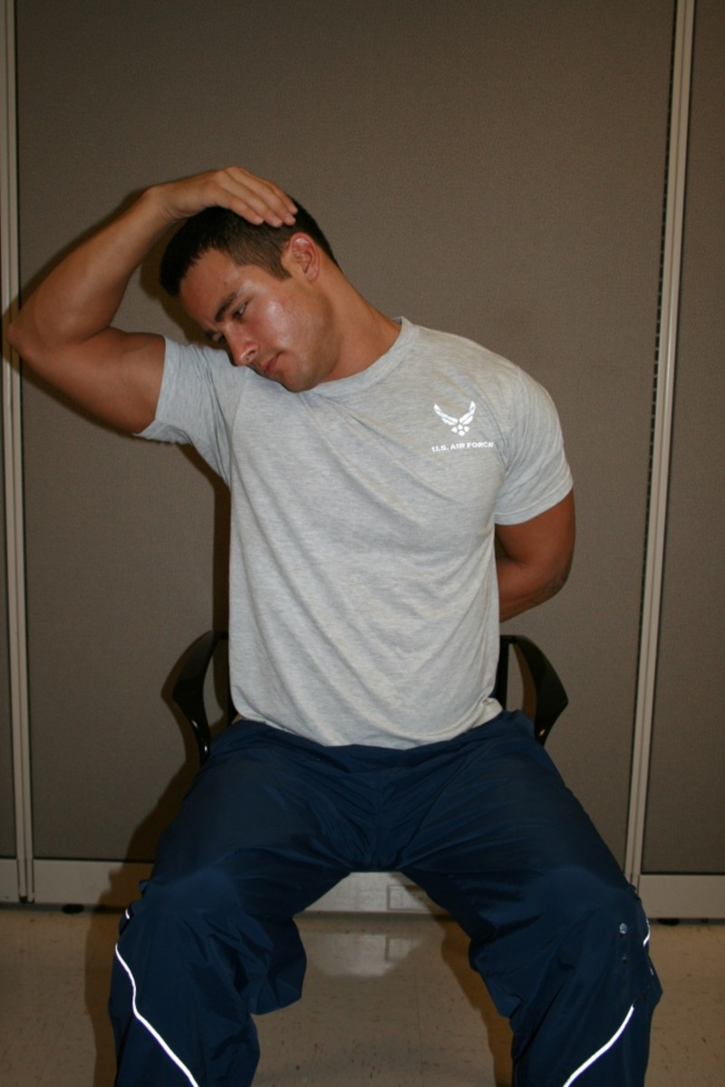 Point nose toward armpit, and gently pull head inward with the hand of the same side, while depressing the opposite shoulder
