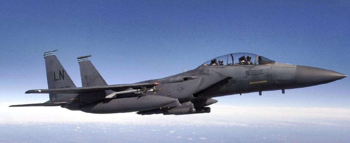 USAF F-15E Strike Eagle in flight.  (Photo courtesy of USAF)