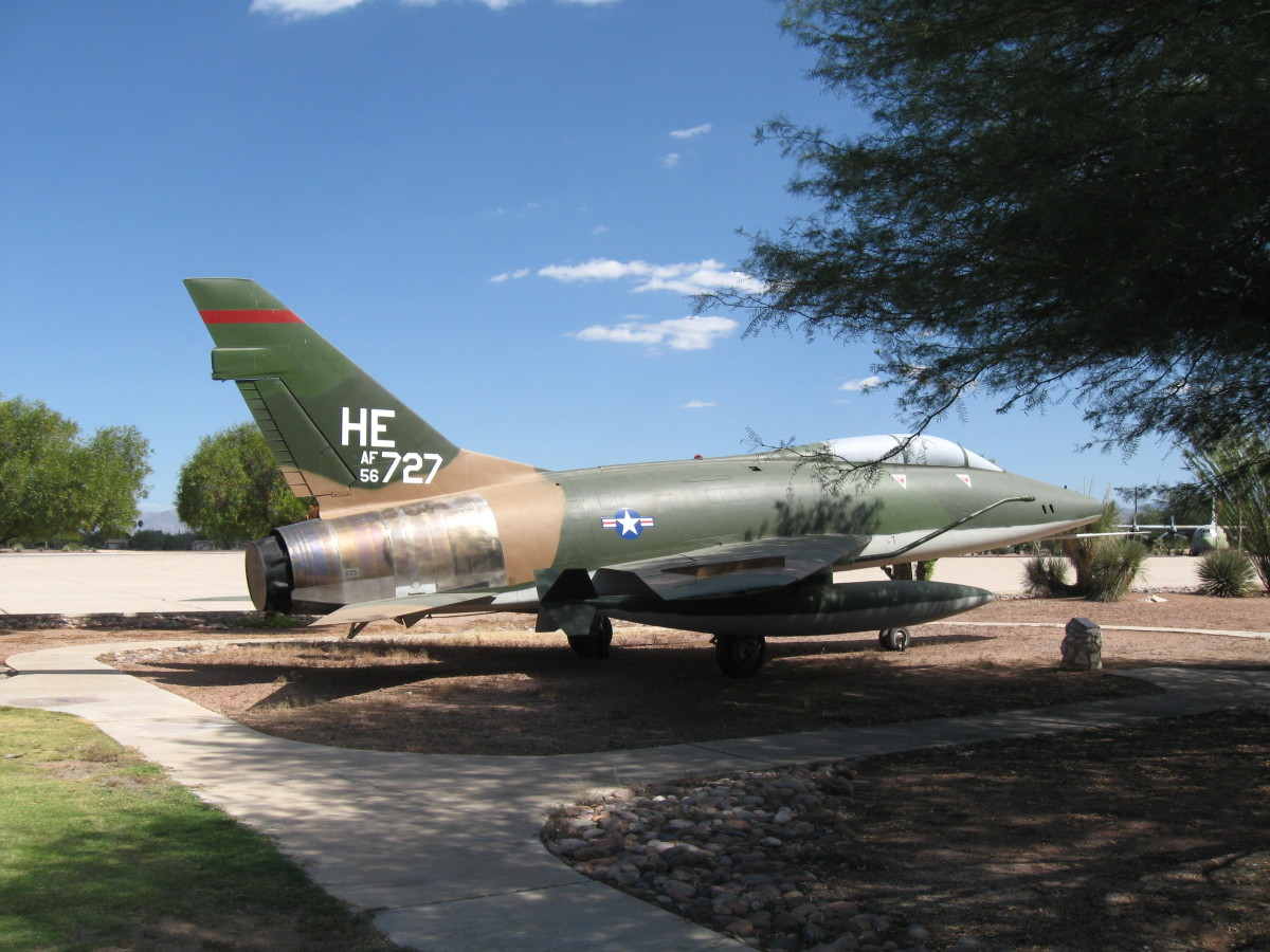 USAF F-100F Fighter Jet at Davis-Monthan AFB in Tucson, AZ