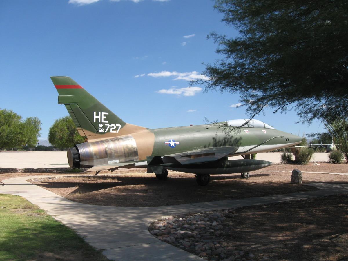 USAF F-100F Fighter Jet at Davis-Monthan AFB in Tucson, AZ