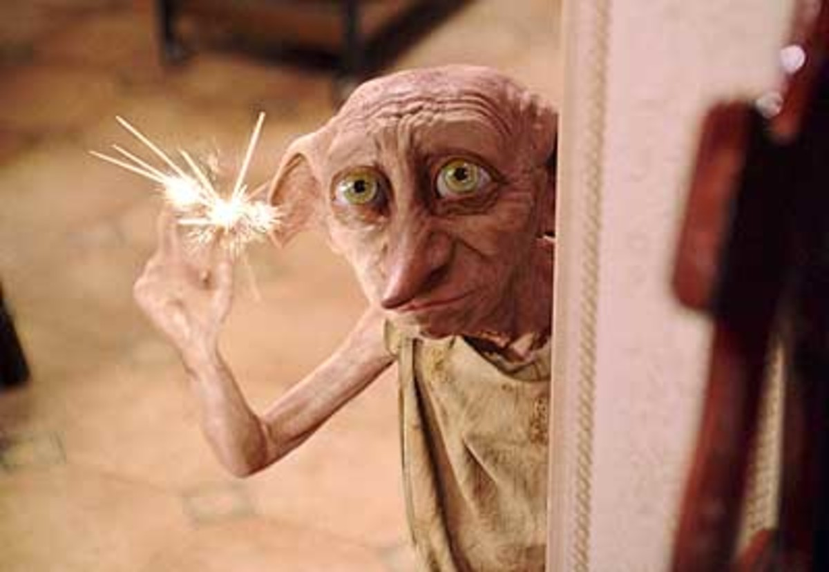 Dobby, the House Elf freed by Harry, and the inspiration for the founding of the Society for the Promotion of Elfish Welfare (S.P.E.W.)
