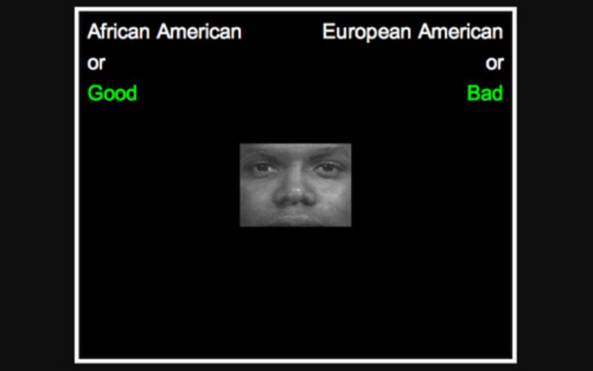 A screenshot from the racial IAT.