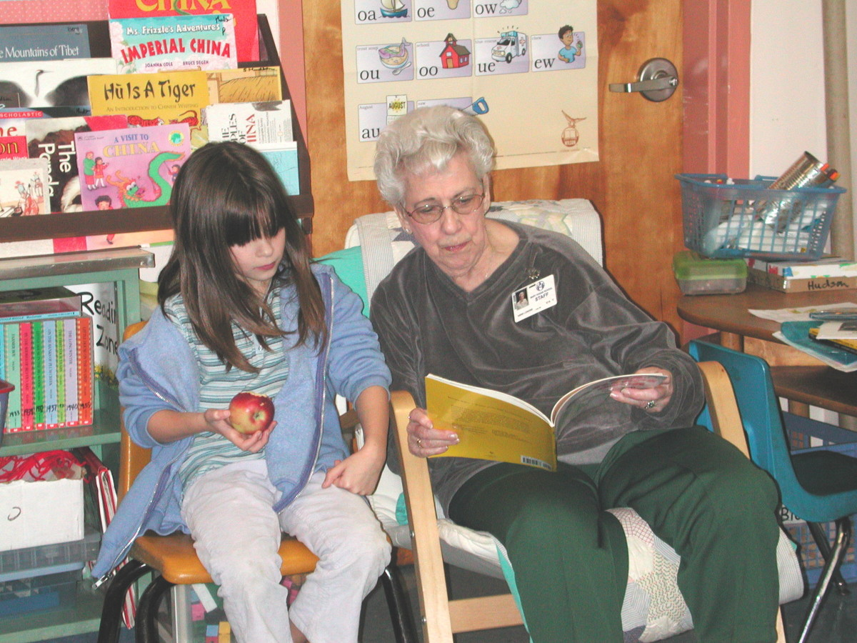 Foster grandmother reading