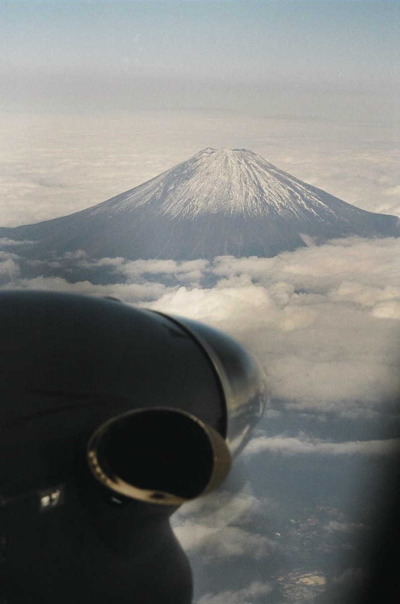 Approaching Japan's Mount Fuji at 17,000 feet.