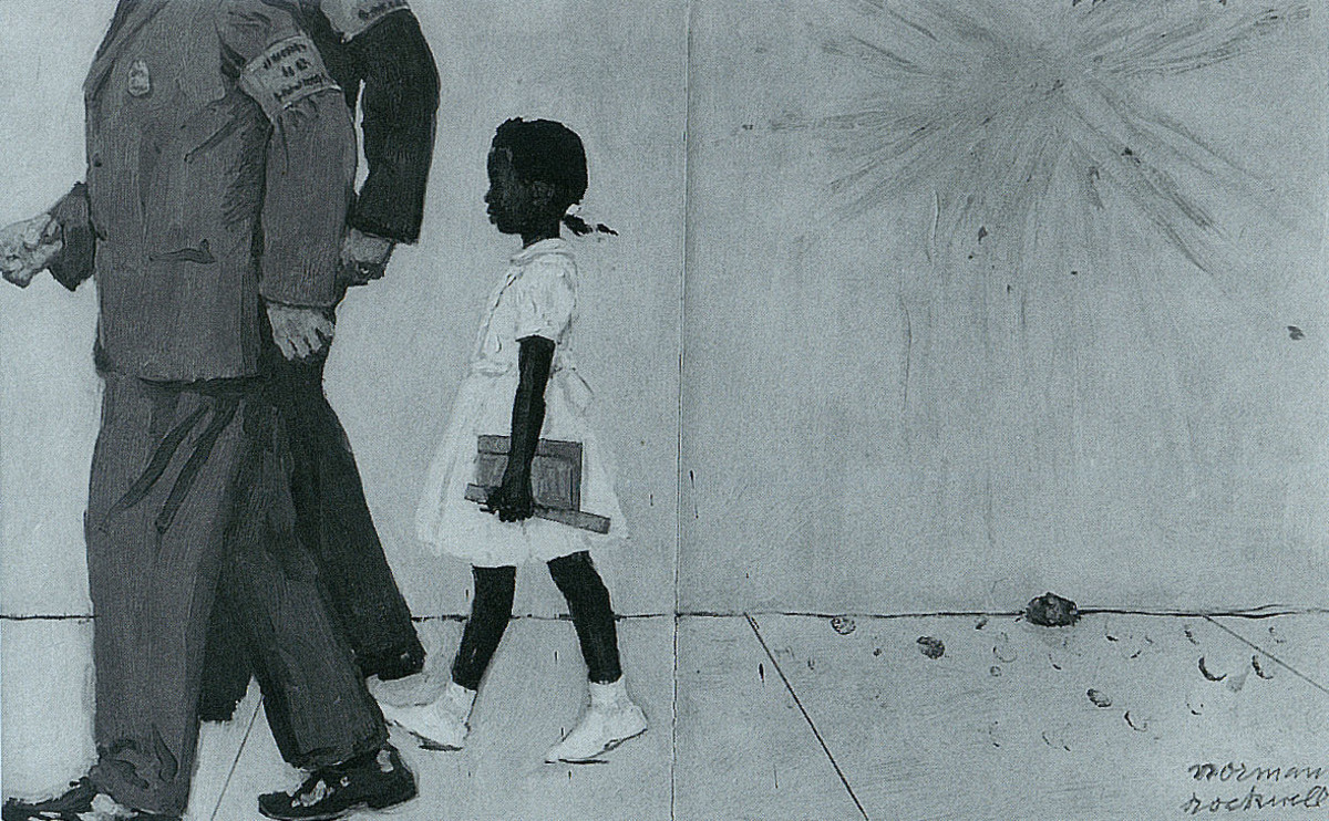 """Norman Perceval Rockwell (1894-1978) Study for """"The Problem We All Live With"""" Oil 1963"""