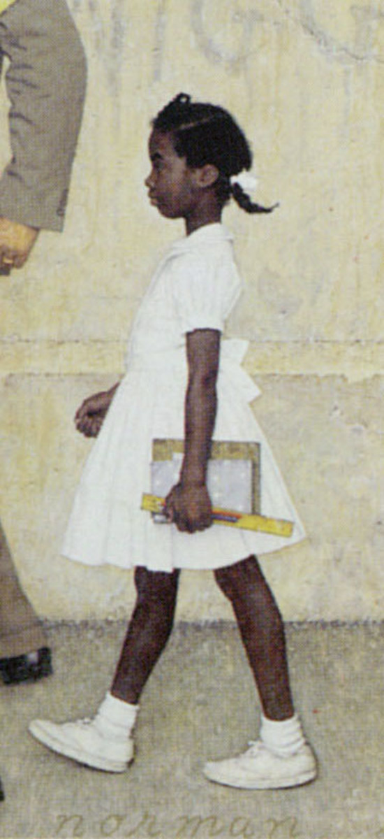 "Detail:  ""The Problem We All Live With"", 1963, Look, January 1964 Story Illustration Oil on Canvas 36 x 58 inches    Collection of the Norman Rockwell Museum, Stockbridge Massachusetts"