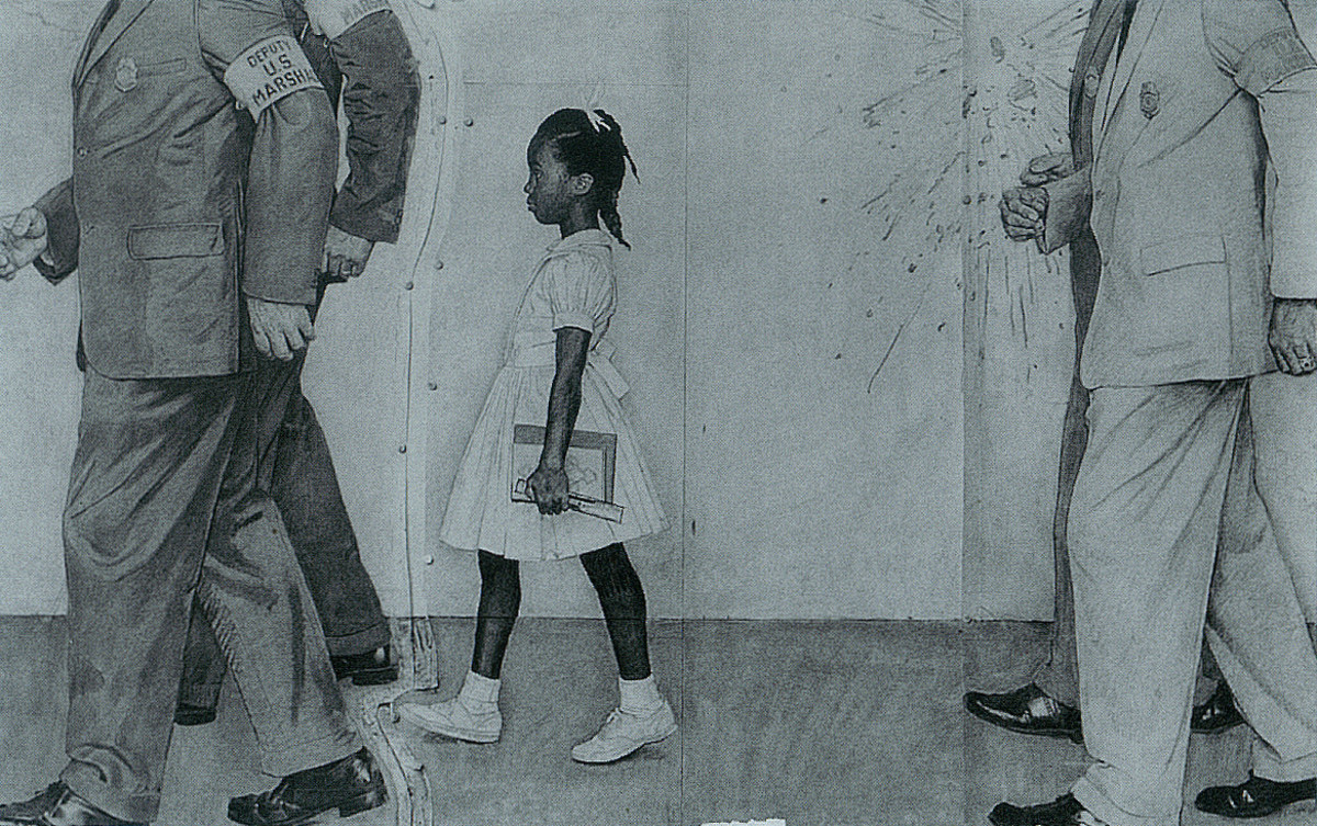 """Study III  Norman Perceval Rockwell  (1894-1978) Study for """"The Problem We All Live With"""" Graphite 1963"""