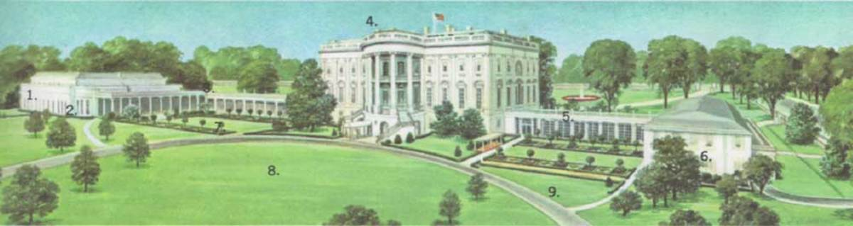 The external plan of the White House. The building is situated on more than 15 acres of land, and its major features include: (1) Executive Wing, (2) President's office, (3) swimming pool and gym, (4) main building, (5) movie theater, (6) East Wing,