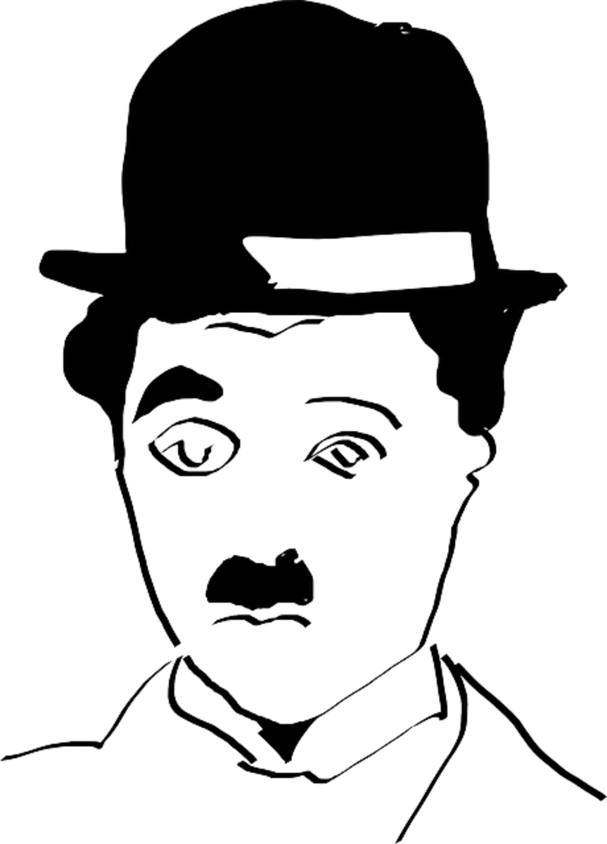 artistic line drawing of the face of Charlie Chaplin with his Bolla hat and distinctive mustache