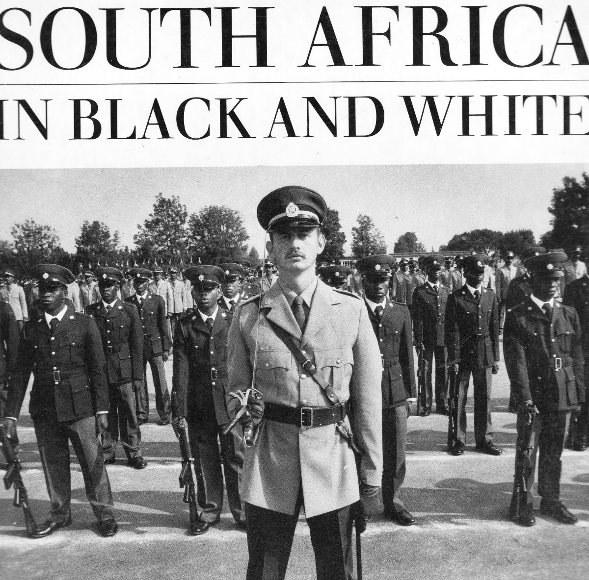 "South African Police cadre in a drill and practically and literaly in ""Black and White"