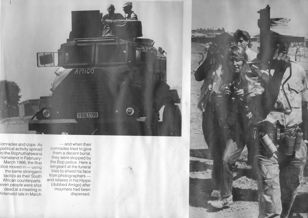 """A close-up of a """"Hippo"""" after it had dispersed protesters; A sergeant tries to hide his face with a machine gun from photographers"""