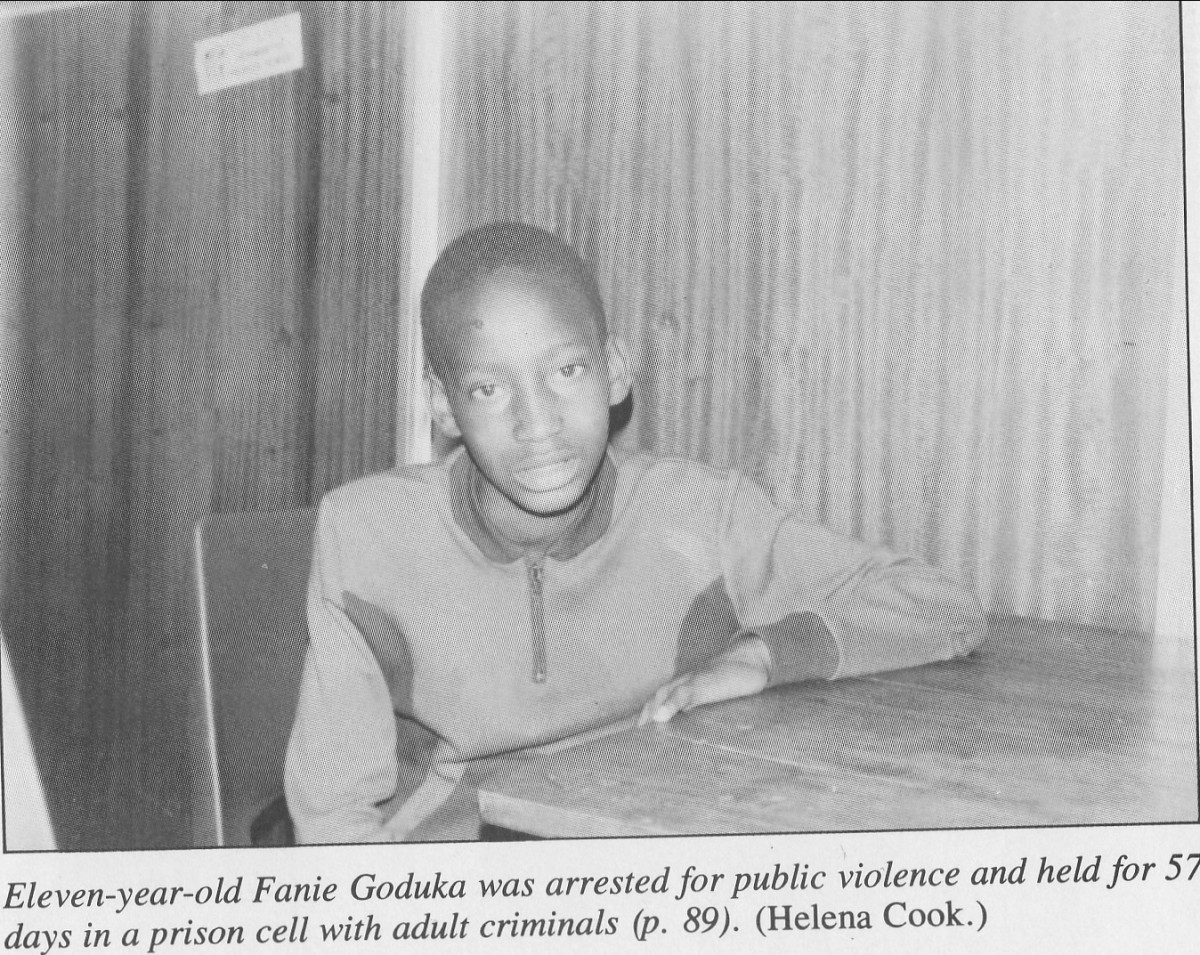 Eleven-year-old Fannie Goduka was arrested for public violence and held for 57 days in  prison cell with adult criminals