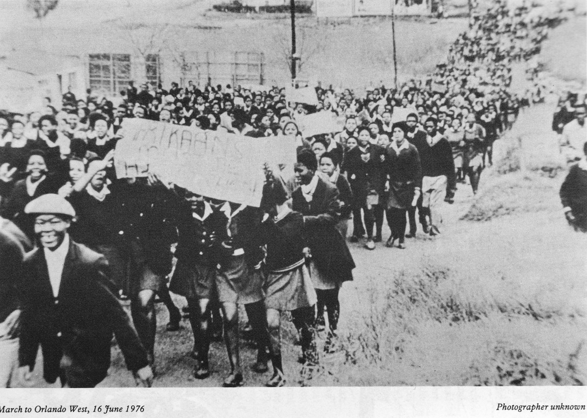 One of the rare pictures of the students marching to Orlando Stadium to hold a rally before they met with the army and the South African police quarter way to the stadium.