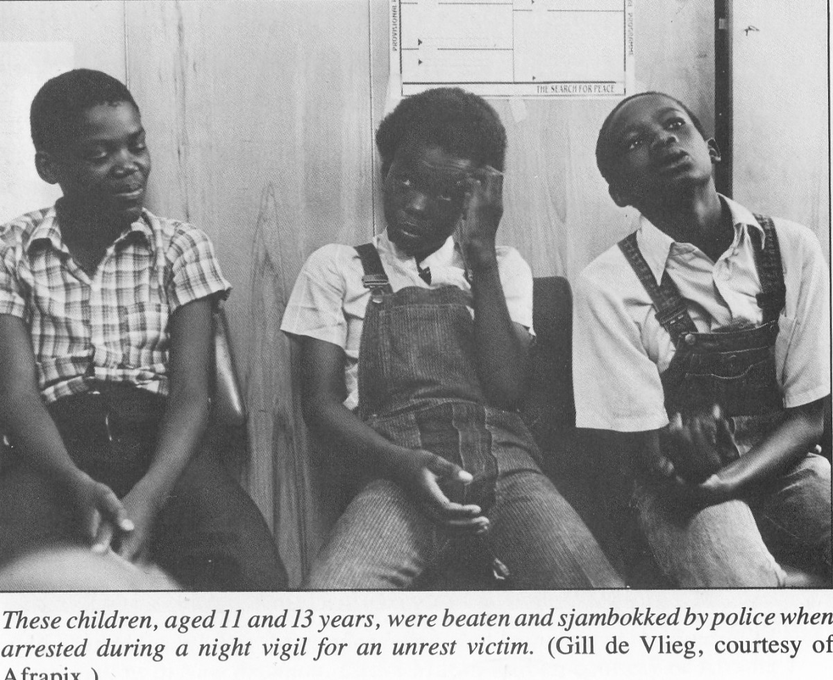 These children aged 11 and 13 years, were beaten and sjamboked by police when arrested during a night vigil for an unrest victim