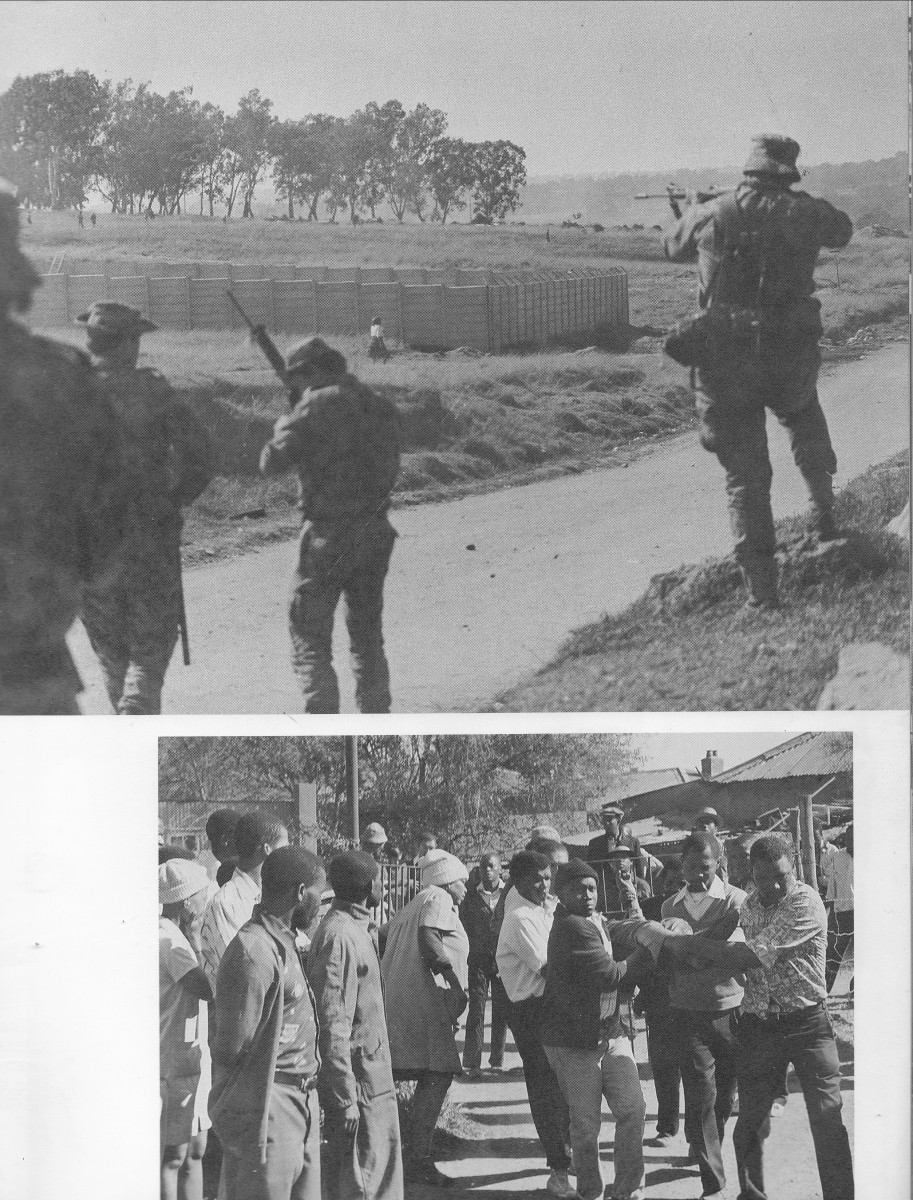 Top: The army target-shooting people in the foreground- note the lady walking past by. Bottom: A common scene of a person shot by the  sadf