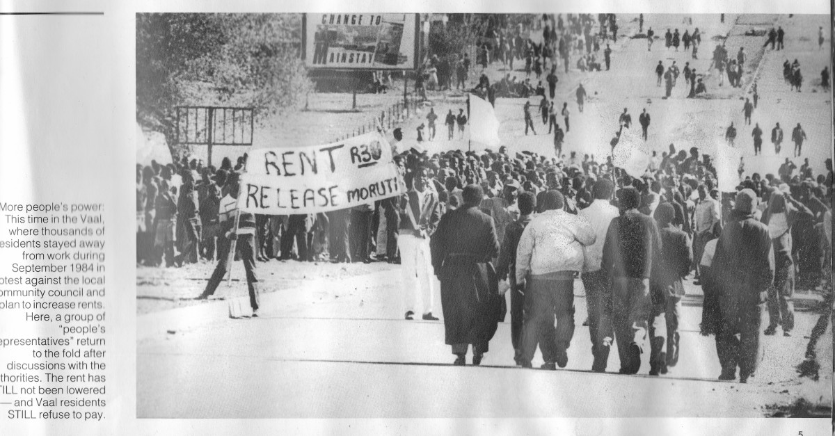 Vaal residence in 1984 refused to pay rent and went on strike