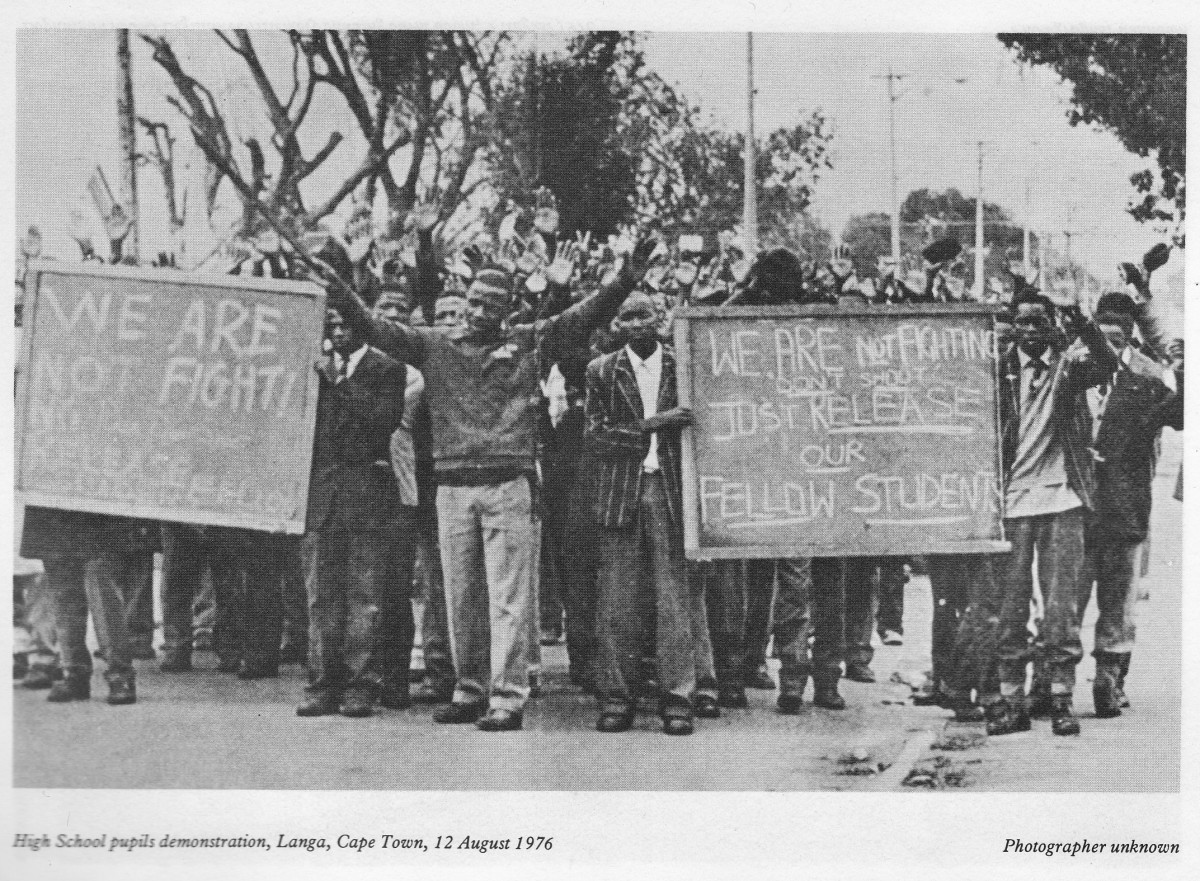 Students in June 1976 demonstrating against Afrikaans and were in a peaceful mode and holding their placards.