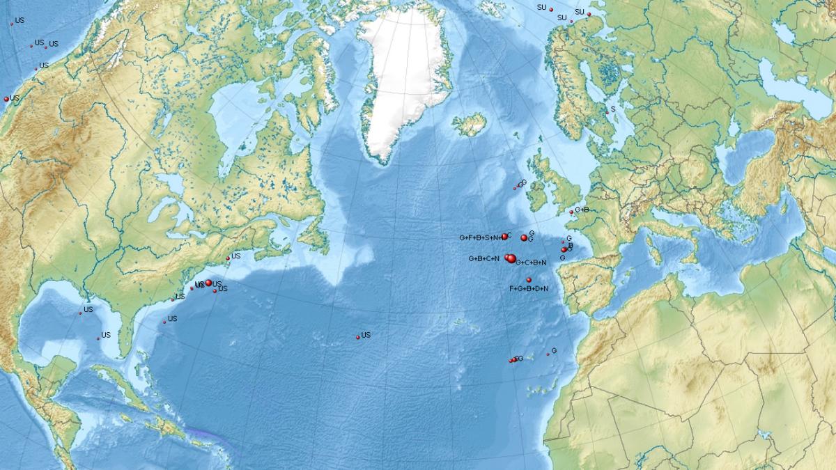 Some storage locations in the Atlantic Ocean