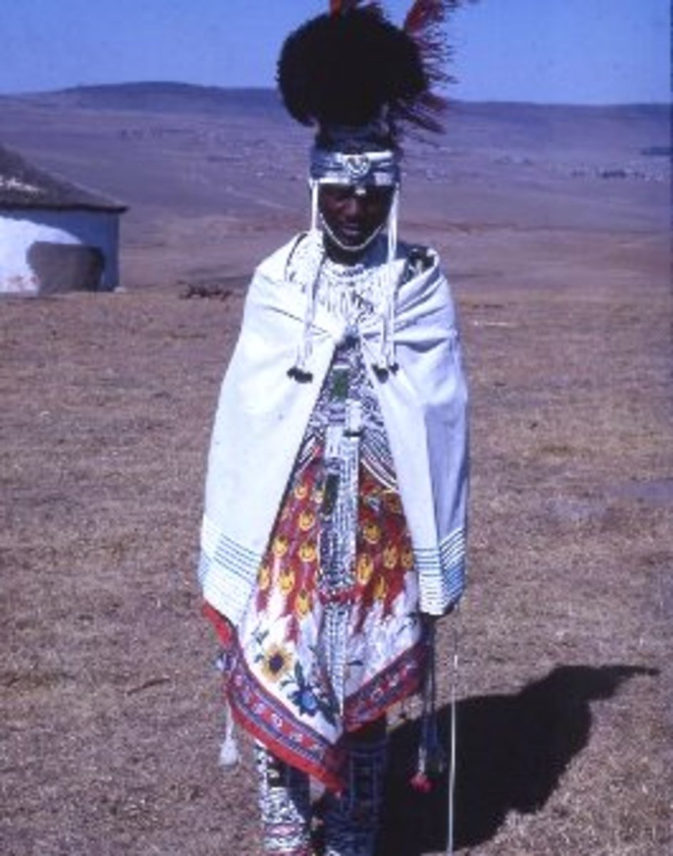 Xhosa man in full Xhosa regalia