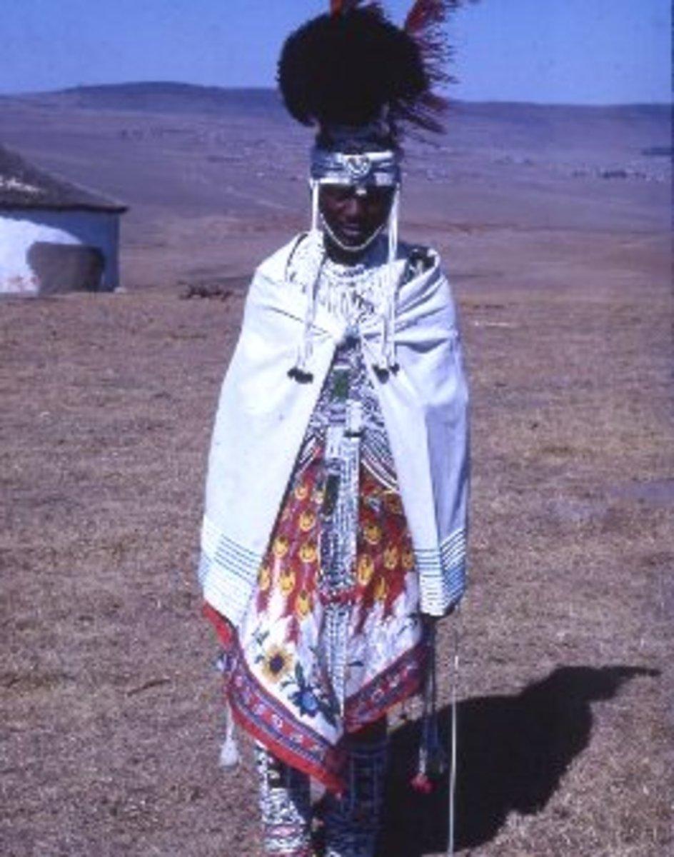 Xhosa man in full Xhosa regalia